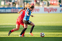 Kansas City, MO - Saturday May 27, 2017: Meggie Dougherty Howard, Alexa Newfield during a regular season National Women's Soccer League (NWSL) match between FC Kansas City and the Washington Spirit at Children's Mercy Victory Field.