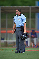 Umpire Codey Davis during a game between the GCL Marlins and GCL Mets on July 24, 2015 at the St. Lucie Sports Complex in St. Lucie, Florida.  The game was rained out in the first inning.  (Mike Janes/Four Seam Images)