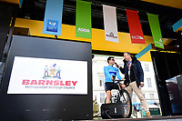 Picture by SWpix.com - 04/05/2018 - Cycling - 2018 Tour de Yorkshire - Stage 2: Barnsley to Ilkley - Yorkshire, England - Canyon Eisberg's Harry Tanfield is interviewed at sign-on.