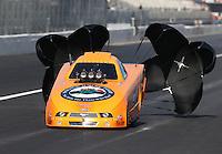 Feb. 15, 2013; Pomona, CA, USA; NHRA top alcohol funny car driver Tony Bartone during qualifying for the Winternationals at Auto Club Raceway at Pomona. Mandatory Credit: Mark J. Rebilas-