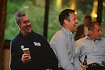 Kenny Logan with a cardboard cutout of Gavin Hastings<br /> Celebrity Cup Players BBQ<br /> Celtic Manor Resort<br /> 04.07.14<br /> &copy;Steve Pope-SPORTINGWALES