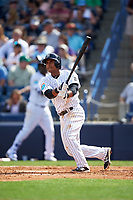 New York Yankees third baseman Donovan Solano (26) at bat during a Spring Training game against the Detroit Tigers on March 2, 2016 at George M. Steinbrenner Field in Tampa, Florida.  New York defeated Detroit 10-9.  (Mike Janes/Four Seam Images)