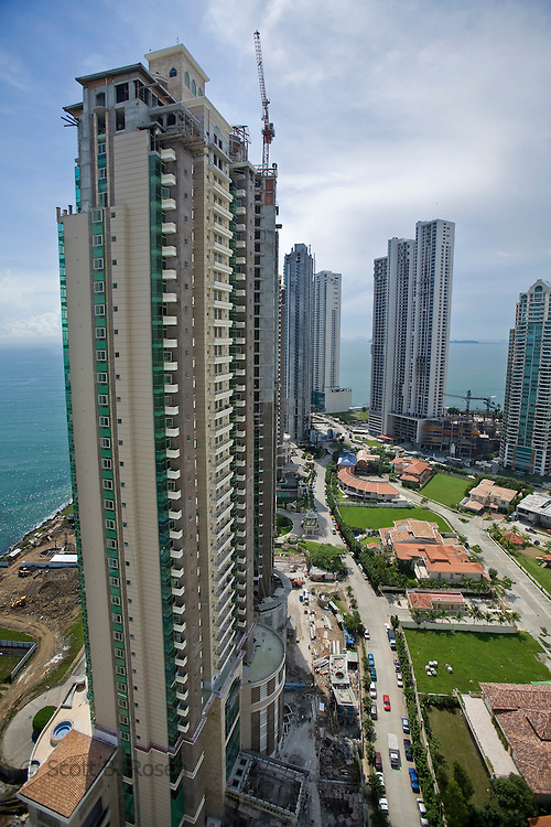 New high-rise condos and luxury houses under construction in Punta Pacifica, Panama City
