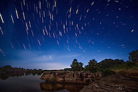 Star trails shot at Wilson Rock on the Arkansas River near Muldrow Oklahoma.