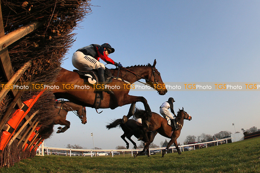 The field in jumping action during the Drive In Movie 18th August Handicap Hurdle - Horse Racing at Plumpton Racecourse, East Sussex - 12/03/12 - MANDATORY CREDIT: Gavin Ellis/TGSPHOTO - Self billing applies where appropriate - 0845 094 6026 - contact@tgsphoto.co.uk - NO UNPAID USE.