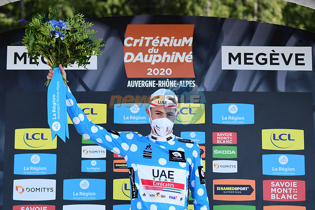 David de la Cruz (ESP) UAE Team Emirates takes over the mountains Polka Dot Jersey at the end of Stage 4 of Criterium du Dauphine 2020, running 157km from Ugine to Megeve, France. 15th August 2020.<br /> Picture: ASO/Alex Broadway | Cyclefile<br /> All photos usage must carry mandatory copyright credit (© Cyclefile | ASO/Alex Broadway)