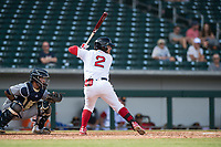 Mesa Solar Sox second baseman Esteban Quiroz (2), of the Boston Red Sox organization, at bat in front of catcher Mario Feliciano (6) during an Arizona Fall League game against the Peoria Javelinas at Sloan Park on October 11, 2018 in Mesa, Arizona. Mesa defeated Peoria 10-9. (Zachary Lucy/Four Seam Images)