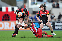 Steve Borthwick is tackled in possession. Aviva Premiership match, between Saracens and London Welsh on March 3, 2013 at Allianz Park in London, England. Photo by: Patrick Khachfe / Onside Images