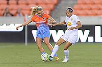 Houston, TX - Saturday July 30, 2016: Melissa Henderson, Jaelene Hinkle during a regular season National Women's Soccer League (NWSL) match between the Houston Dash and the Western New York Flash at BBVA Compass Stadium.