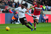 Joel Asoro of Swansea City battles with Niclas Eliasson of Bristol City during the Sky Bet Championship match between Bristol City and Swansea City at Ashton Gate in Bristol, England, UK. Monday 02 February 2019