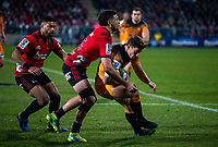 Jaguares' Joaquin Diaz Bonilla is tackled during the 2019 Super Rugby final between the Crusaders and Jaguares at Orangetheory Stadium in Christchurch, New Zealand on Saturday, 6 July 2019. Photo: Joe Johnson / lintottphoto.co.nz