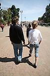 Teenage tourists walking in Marrakech, Morocco