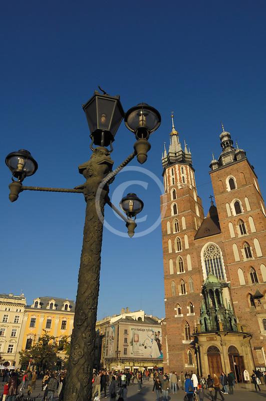 Poland, Krakow, St. Mary's Church, Rynek Glowny, Grand Square