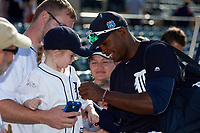Detroit Tigers center fielder Wynton Bernard (63) signs autographs after an exhibition game against the Florida Southern Moccasins on February 29, 2016 at Joker Marchant Stadium in Lakeland, Florida.  Detroit defeated Florida Southern 7-2.  (Mike Janes/Four Seam Images)