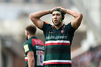Graham Kitchener of Leicester Tigers looks dejected. Aviva Premiership match, between Leicester Tigers and Northampton Saints on April 14, 2018 at Welford Road in Leicester, England. Photo by: Patrick Khachfe / JMP