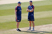 Tom Westley (right) and Anthony McGrath (left) of Essex chat on the pitch prior to Essex CCC vs Kent CCC, Bob Willis Trophy Cricket at The Cloudfm County Ground on 3rd August 2020