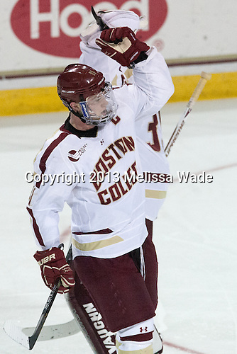 Pat Mullane (BC - 11) - The Boston College Eagles defeated the University of Vermont Catamounts 4-1 on Friday, February 1, 2013, at Kelley Rink in Conte Forum in Chestnut Hill, Massachusetts.