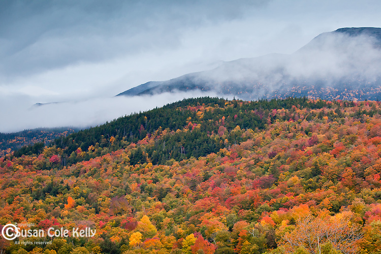 Pre-dawn mist in the Presidential Range, Pinkham Notch, White Mountain National Forest, NH, USA