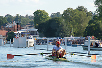 """Henley on Thames, United Kingdom, 3rd July 2018, Saturday,  """"Henley Royal Regatta"""",  Heat of the Silver Goblets and Nickalls' Challenge Cup, Stroke Harry GLENISTER, bow George ROSSITER, Leander M2-, racing the course, View, Henley Reach, River Thames, Thames Valley, England, UK."""
