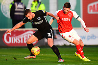 Portsmouth's Lee Brown holds off Fleetwood Town's Wes Burns<br /> <br /> Photographer Richard Martin-Roberts/CameraSport<br /> <br /> The EFL Sky Bet League One - Fleetwood Town v Portsmouth - Saturday 29th December 2018 - Highbury Stadium - Fleetwood<br /> <br /> World Copyright &copy; 2018 CameraSport. All rights reserved. 43 Linden Ave. Countesthorpe. Leicester. England. LE8 5PG - Tel: +44 (0) 116 277 4147 - admin@camerasport.com - www.camerasport.com