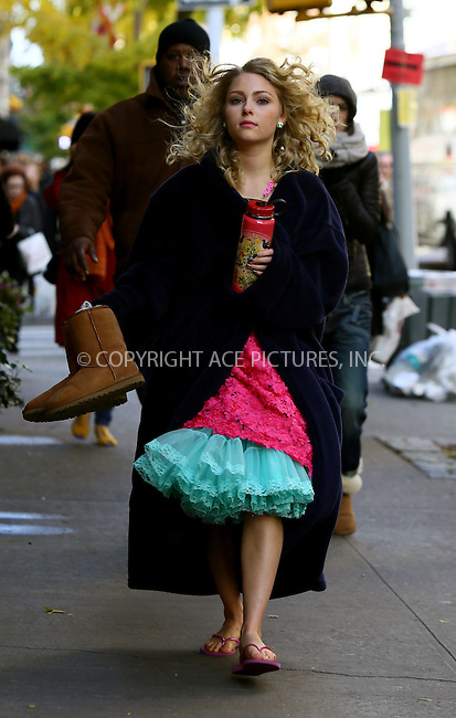 WWW.ACEPIXS.COM<br /> <br /> November 6 2013, New York City<br /> <br /> Actress AnnaSophia Robb on the set of the TV show 'The Carrie Diaries' on The Upper East Side on November 6 2013 in New York City<br /> <br /> By Line: Philip Vaughan/ACE Pictures<br /> <br /> ACE Pictures, Inc.<br /> tel: 646 769 0430<br /> Email: info@acepixs.com<br /> www.acepixs.com