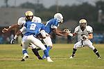 Culver City, CA 09/17/10 - Walter Woo (Peninsula #2) and Jordan Arrington (Culver City #9) in action during the Peninsula Panthers-Culver City Centaurs varsity football game at Culver City High School.