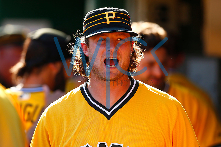Gerrit Cole #45 of the Pittsburgh Pirates reacts in the dugout against the Milwaukee Brewers during the game at PNC Park in Pittsburgh, Pennsylvania on April 17, 2016. (Photo by Jared Wickerham / DKPS)