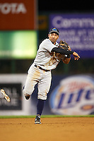 Trenton Thunder shortstop Ali Castillo (13) throws to first during a game against the Binghamton Mets on August 8, 2015 at NYSEG Stadium in Binghamton, New York.  Trenton defeated Binghamton 4-2.  (Mike Janes/Four Seam Images)