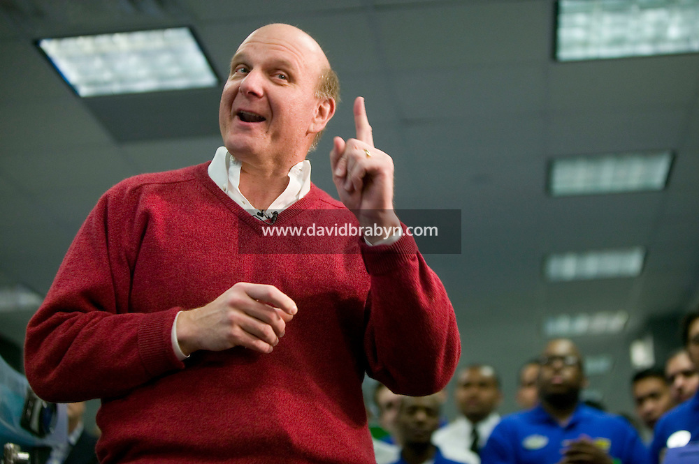 30 January 2007 - New York City, NY - Steve Ballmer, CEO of Microsoft talks to the press during a promotional event in a Best Buy store in New York City, 30 January 2007, the day of the official launch for consumers of the Windows Vista operating system and Office 2007 software suite.
