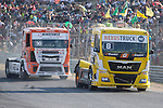 German driver Sascha Lenz belonging German team Sascha Lenz and French driver Anthony Janiec belonging Portugese team Lion Truck Racing during the fist race R1 of the XXX Spain GP Camion of the FIA European Truck Racing Championship 2016 in Madrid. October 01, 2016. (ALTERPHOTOS/Rodrigo Jimenez)