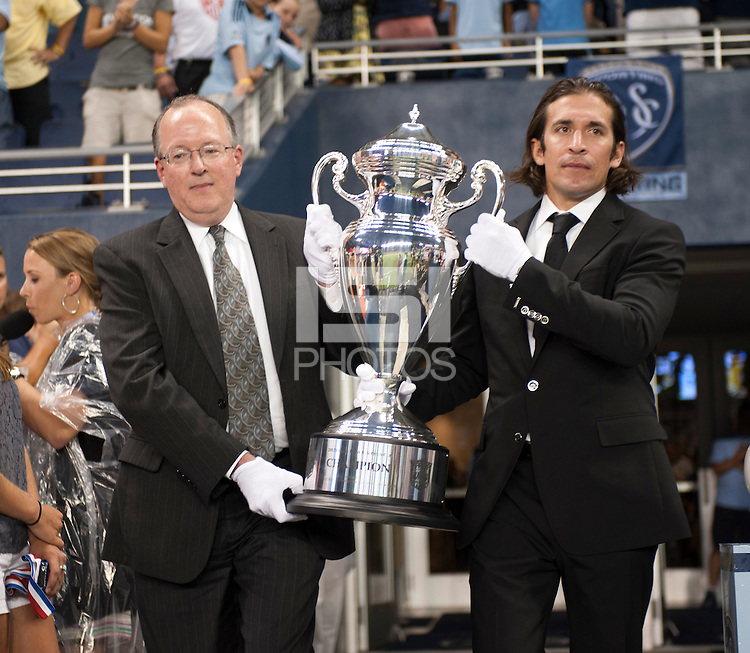 Lamar Hunt US Open Cup. Sporting Kansas City won the Lamar Hunt U.S. Open Cup on penalty kicks after tying the Seattle Sounders in overtime at Livestrong Sporting Park in Kansas City, Kansas.