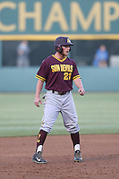 Jake Peevyhouse #21 of the Arizona State Sun Devils runs the bases during a game against the UCLA Bruins at Jackie Robinson Stadium on March 28, 2014 in Los Angeles, California. UCLA defeated Arizona State 7-3. (Larry Goren/Four Seam Images)