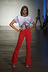 Model walks runway in an outfit from the Alisha Desai collection at Cope NYC, on October 10, 2019, during Fashion Week Brooklyn Spring Summer 2020.