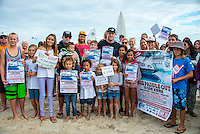 North Kirra, Queensland, Australia. (Friday, January 10, 2014) &ndash; Mick Fanning(AUS), who spent his teenage years honing his surfing skills at Kirra beach, spoke out today about the controversial development planned at the beach.<br /> Fanning has signed a petition on change.org opposing the development, as well as tweeting about the petition to his 138,000 Twitter followers. More than 7000 people have signed the petition.<br /> Mick Fanning was on the beach at the North Kirra site this morning signing autographs having his photo taken and greeted warmly by an enthusiastic army of supporters. The current 3 times World Professional champ was outlining his views and concerns about Kirra and the Cruise Ship Terminal/Casino issue on public land.<br /> Today, Fanning released the following statement:<br /> &ldquo;My favourite wave in the world is Kirra&hellip; and I&rsquo;m not the only surfer that feels that way. So when I heard about the proposed cruise ship terminal my first thought was we&rsquo;re going to lose one of the greatest surf destinations on earth. <br /> &ldquo;The more I looked into the proposed development though I realised we are at risk of losing so much more than the wave. The pollution that comes from these cruise ships will no doubt have an impact on marine life and the beautiful crystal clear waters surfers, families and visitors enjoy on the Gold Coast every day. <br /> &ldquo;The unprecedented reclaiming of public land and beach that makes up part of our coastal lifestyle will be taken from us and future generations. This development is wrong on so many levels and I hope people that share my view make their voices heard and join the resistance.&quot;<br /> Fanning and fellow surfing champion Joel Parkinson will take part in a &ldquo;Paddle-Out&rdquo; protest at North Kirra on Sunday week (19 January). Those who can&rsquo;t paddle are being asked to turn up at the beach for a land-based protest.<br />   Photo: joliphotos.com