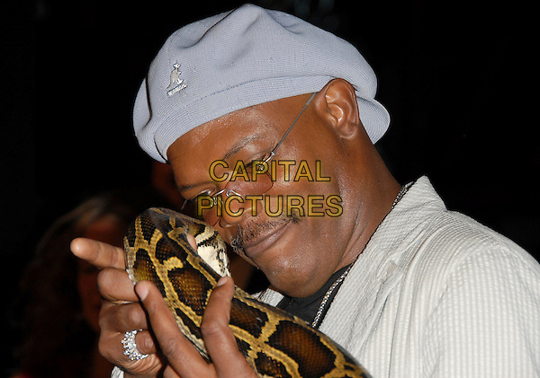"SAMUEL L. JACKSON.The Newline Cinemas World Premiere of ""Snakes on a Plane"" held at The Grauman's Chinese Theatre in Hollywood, California, USA. August 17th, 2006.Ref: DVS.headshot portrait blue hat glasses snake animal.www.capitalpictures.com.sales@capitalpictures.com.©Debbie VanStory/Capital Pictures"
