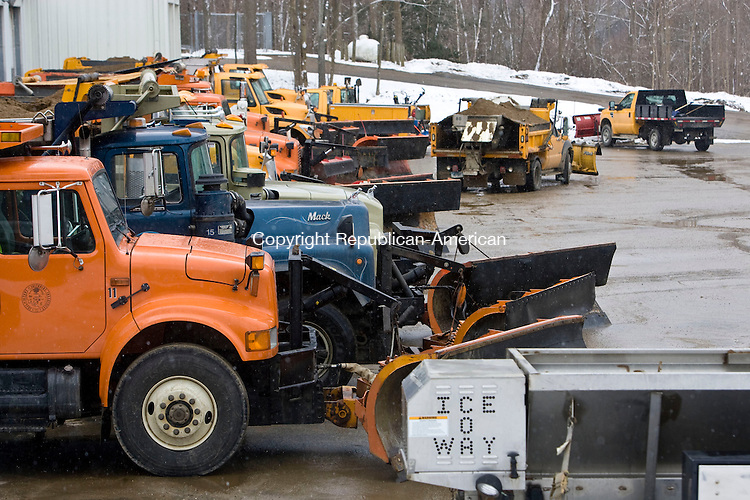 SOUTHBURY, CT - 10 FEBRUARY 2010 -021010JT01--<br /> Snow plows are lined and ready for work on Wednesday afternoon in anticipation of a snow storm forecasted to drop four to eight inches of snow throughout the area.<br /> Josalee Thrift Republican-American