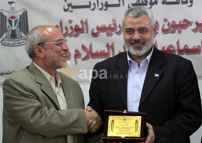 Palestinian Prime Minister in the Gaza Strip, Ismail Haniya during his visiting to the Ministry of Labour in Gaza City on May 2, 2010. Photo by Mohammed Asad