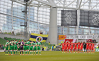 25h May 2014; Republic of Ireland and Turkey players stand for a minutes silence in memory of the victims of the recent mining tragedy in Turkey. International Friendly, Republic of Ireland v Turkey, Aviva Stadium, Dublin. Picture credit: Tommy Grealy/actionshots.ie.