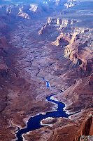 Looking up the ancient canyon carved by one of the rivers that merge to form the Colorado River and Lake Powell