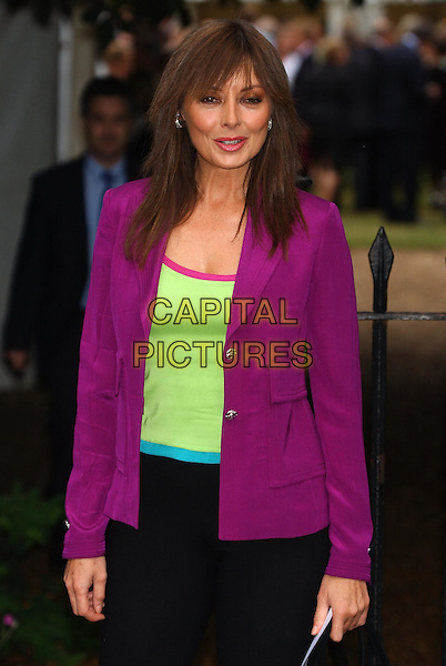CAROL VORDERMAN.David Frost's summer party.sales@capitalpictures.com.www.capitalpictures.com.©Capital Pictures.bright, lime green, maroon, purple jacket