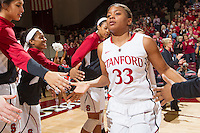 Stanford's Amber Orrange, before Stanford women's basketball  vs Washington State at Maples Pavilion, Stanford, California on March 1, 2014.