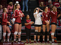 Stanford, CA - October 18, 2019: Kate Formico, Kendall Kipp, Jahbriah Kaho, Morgan Hentz, Michaela Keefe, Mackenzie Fidelak at Maples Pavilion. The No. 2 Stanford Cardinal swept the Colorado Buffaloes 3-0.
