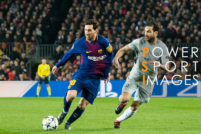 Lionel Andres Messi (L) of FC Barcelona is tackled by Cesc Fabregas of Chelsea FC during the UEFA Champions League 2017-18 Round of 16 (2nd leg) match between FC Barcelona and Chelsea FC at Camp Nou on 14 March 2018 in Barcelona, Spain. Photo by Vicens Gimenez / Power Sport Images