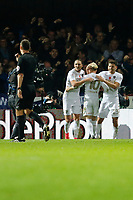 GOAL - EzgjanAlioski of Leeds United celebrates with team mates during the Sky Bet Championship match between Brentford and Leeds United at Griffin Park, London, England on 4 November 2017. Photo by Carlton Myrie.