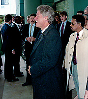 Ann Arbor, Michigan, USA, October 19,1992<br /> Presidential candidate Governor William Clinton  walking out of the Hotel in Ann Arbor, Michigan before going to the debate at the University of Michigan. Credit: Mark Reinstein/MediaPunch