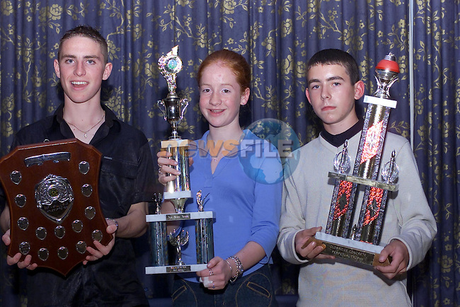 Darragh Greene Athlete of the Year, Cora Russell Best Feamale and mark Hoey best male at the Dunleer AC awards night in the Grove in Dunleer...Picture Fran Caffrey Newsfile.