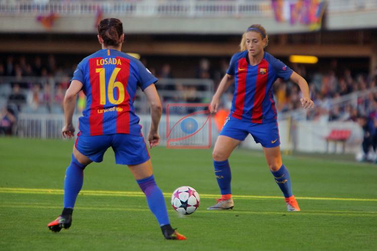 UEFA Women's Champions League 2016/2017.<br /> Quarter Finals.<br /> FC Barcelona vs FC Rosengard: 2-0.<br /> Vicky Losada &amp; Alexia Putellas.