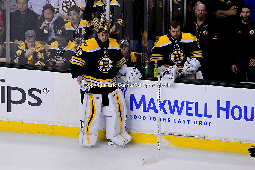 May 2, 2018: Boston Bruins goaltender Tuukka Rask (40) takes a break next to goaltender Anton Khudobin (35) during a TV timeout at game three of the second round of the National Hockey League's Eastern Conference Stanley Cup playoffs between the Tampa Bay Lightning and the Boston Bruins held at TD Garden, in Boston, Mass. Tampa Bay defeats Boston 4-1. Eric Canha/CSM