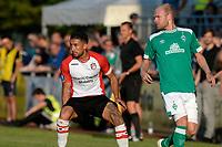LEER - Voetbal , Werder Bremen - FC Emmen, oefenduel, seizoen 2018--2019, 04-09-2018, FC Emmen speler Caner Cavlan met Davy Klaassen