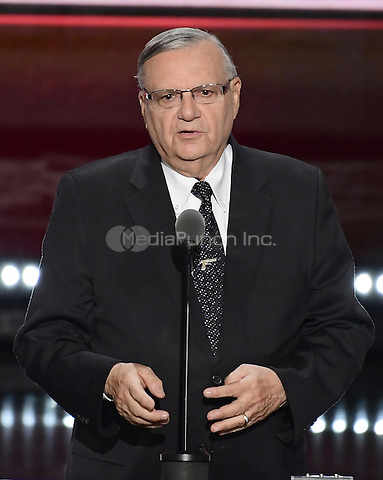 Sheriff Joe Arpaio makes remarks at the 2016 Republican National Convention held at the Quicken Loans Arena in Cleveland, Ohio on Thursday, July 21, 2016.<br /> Credit: Ron Sachs / CNP/MediaPunch<br /> (RESTRICTION: NO New York or New Jersey Newspapers or newspapers within a 75 mile radius of New York City)